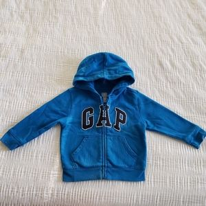 Boys GAP Blue hooded logo jacket 3T hoodie Zi